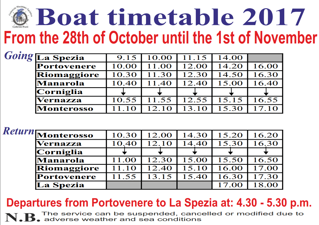 Current timetables for boats: Cinque Terre - Portovenere - La Spezia, 2017