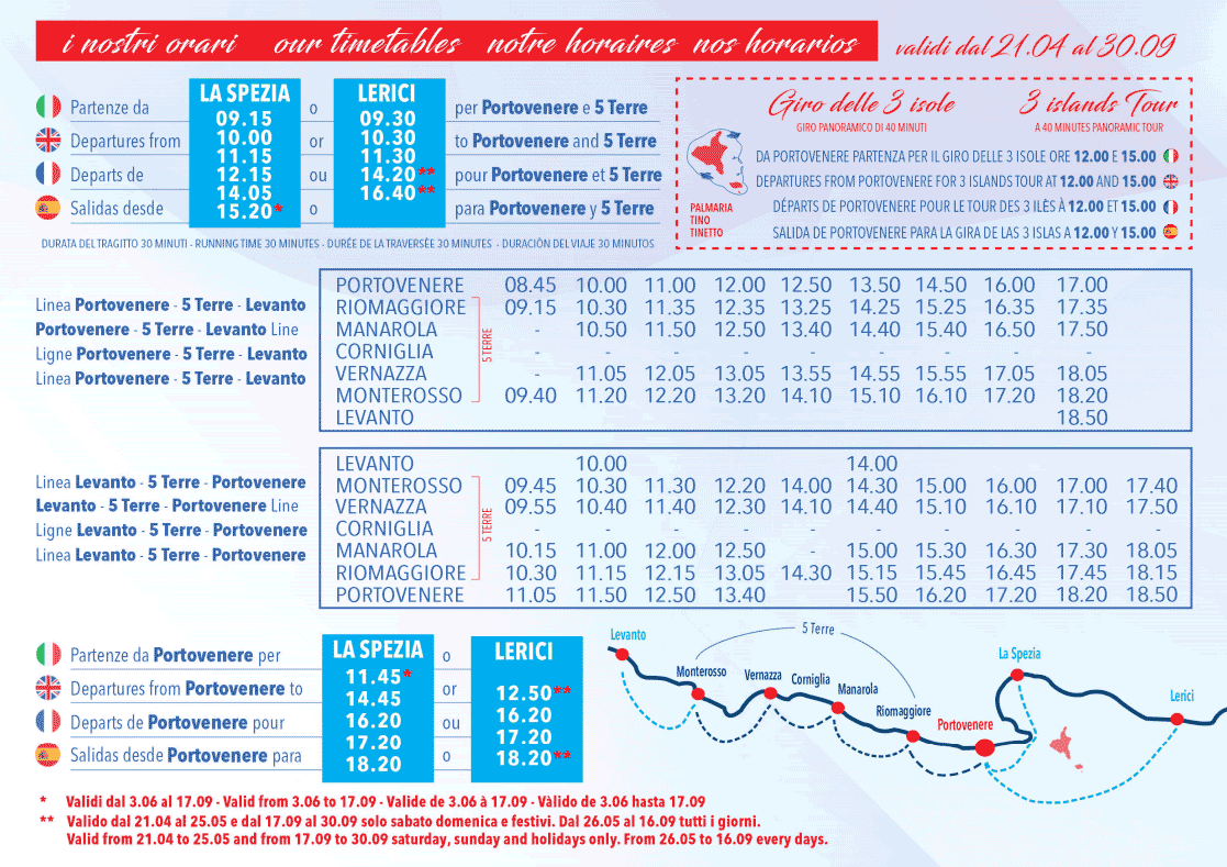 Current timetables for boats: Cinque Terre - Portovenere - La Spezia, 2018