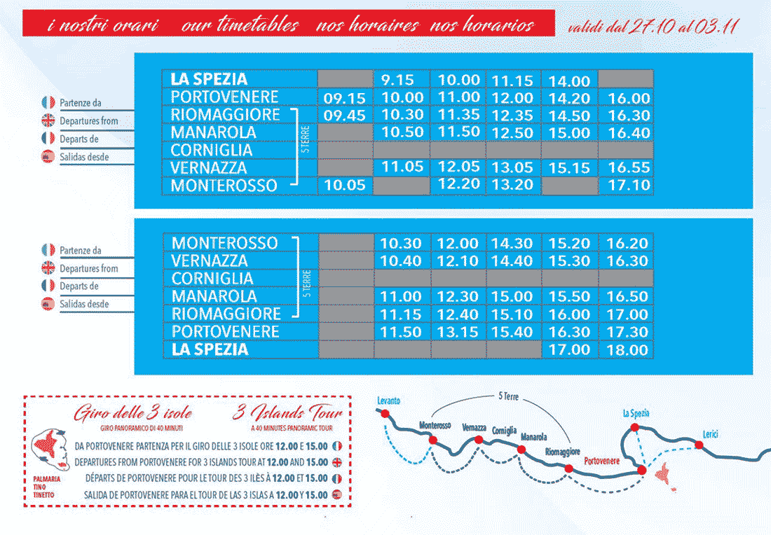Current timetables for boats: Cinque Terre - Portovenere - La Spezia, 2019