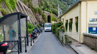 The bus between the village and the station, Corniglia, Cinque Terre, Italy