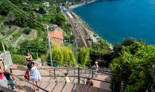 The steps from the village down to the station, Corniglia, Cinque Terre, Italy