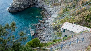 Small beach and the descent to reach it, Corniglia, Cinque Terre, Italy