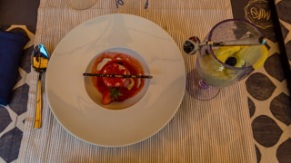 Desserts: raspberry parfait and lemon sorbet (restaurant Miky, Monterosso al Mare), Local food, Cinque Terre, Italy