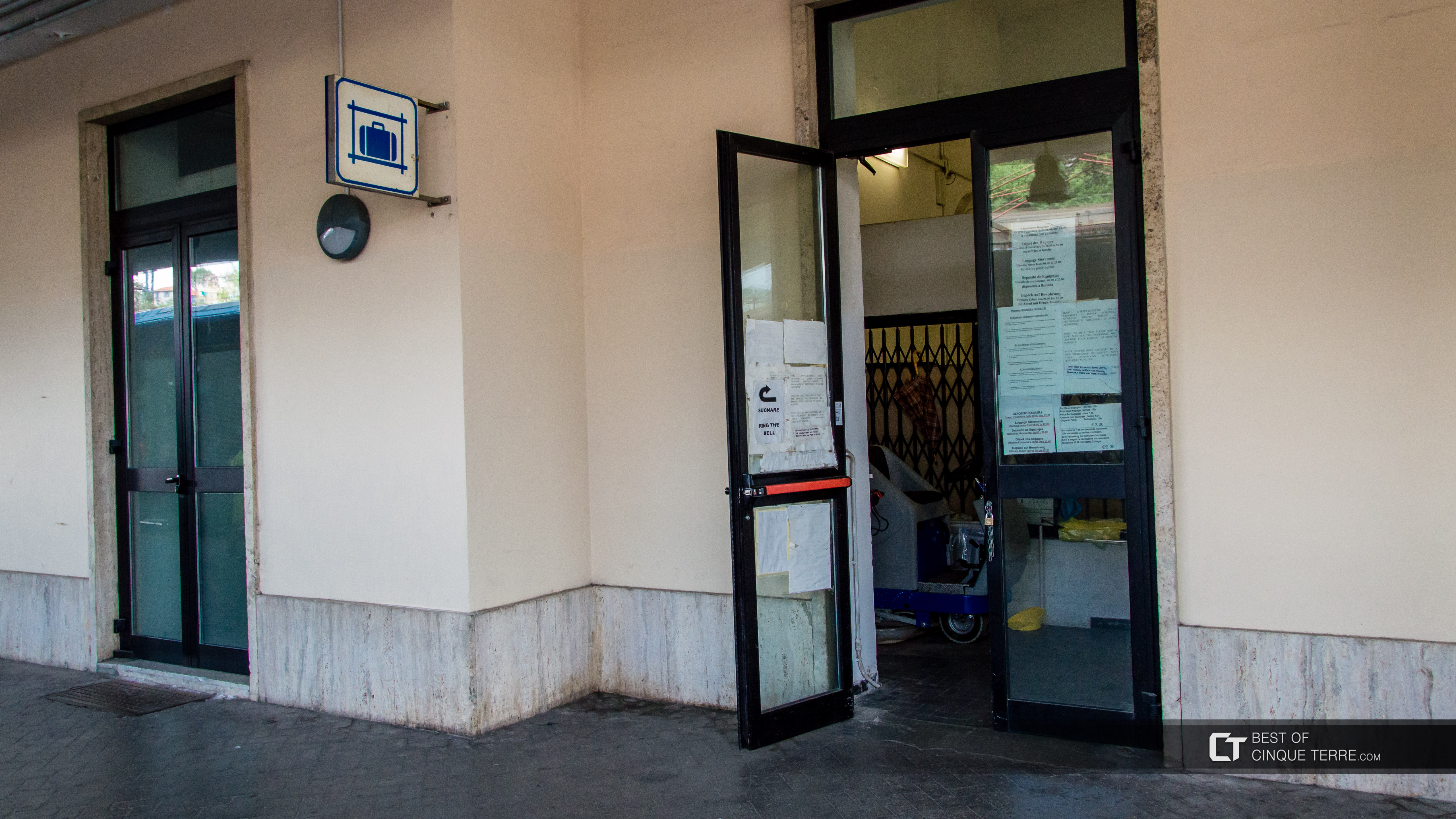 Luggage storage at La Spezia train station, Cinque Terre, Italy