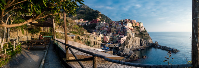 Overview of the recreation area and the village, Manarola, Cinque Terre, Italy
