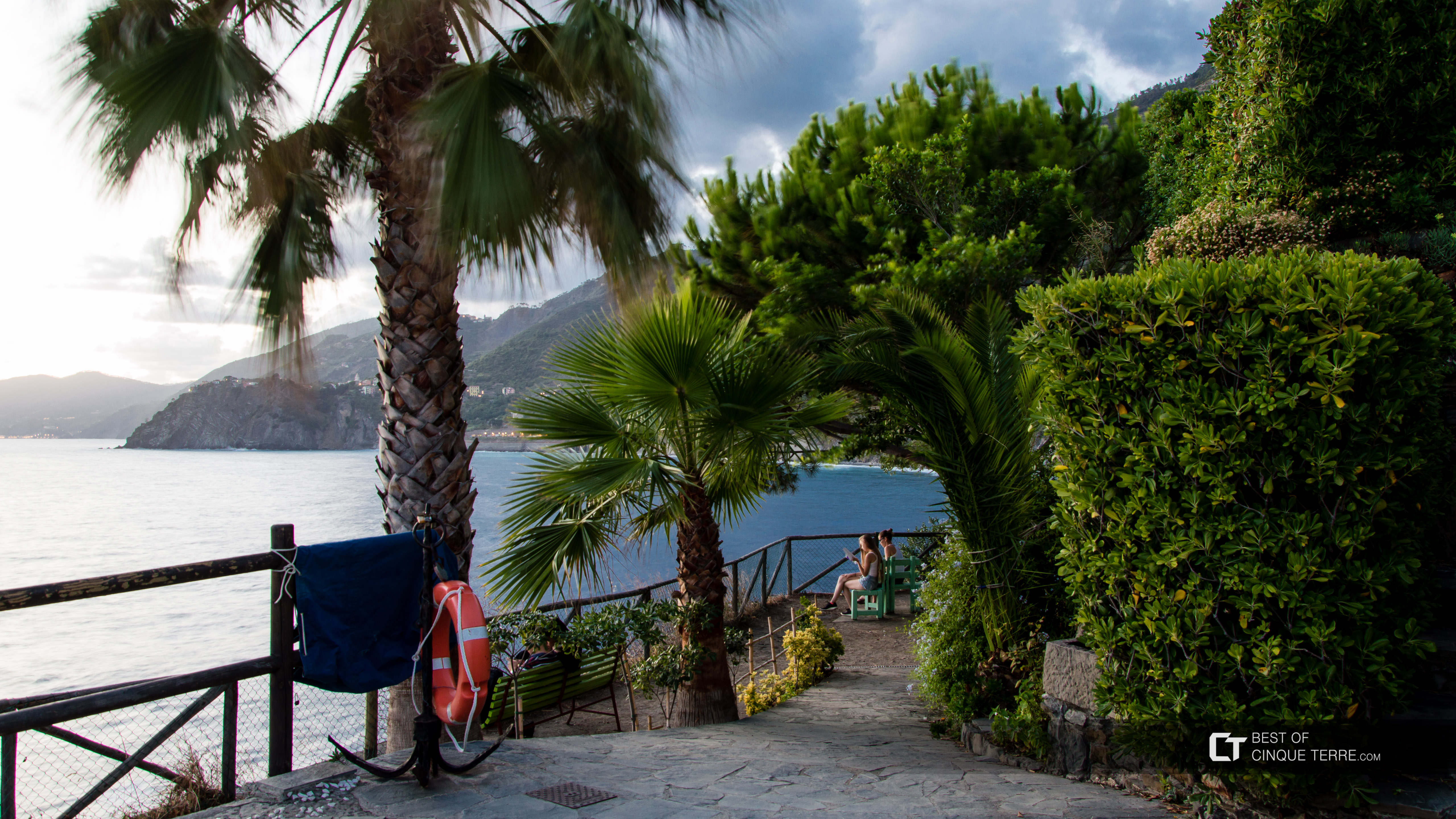 A rest area on the hill near the promenade, Manarola, Cinque Terre, Italy