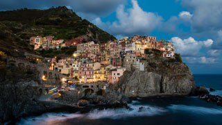 View of Manarola from the seaside promenade, Cinque Terre, Italy