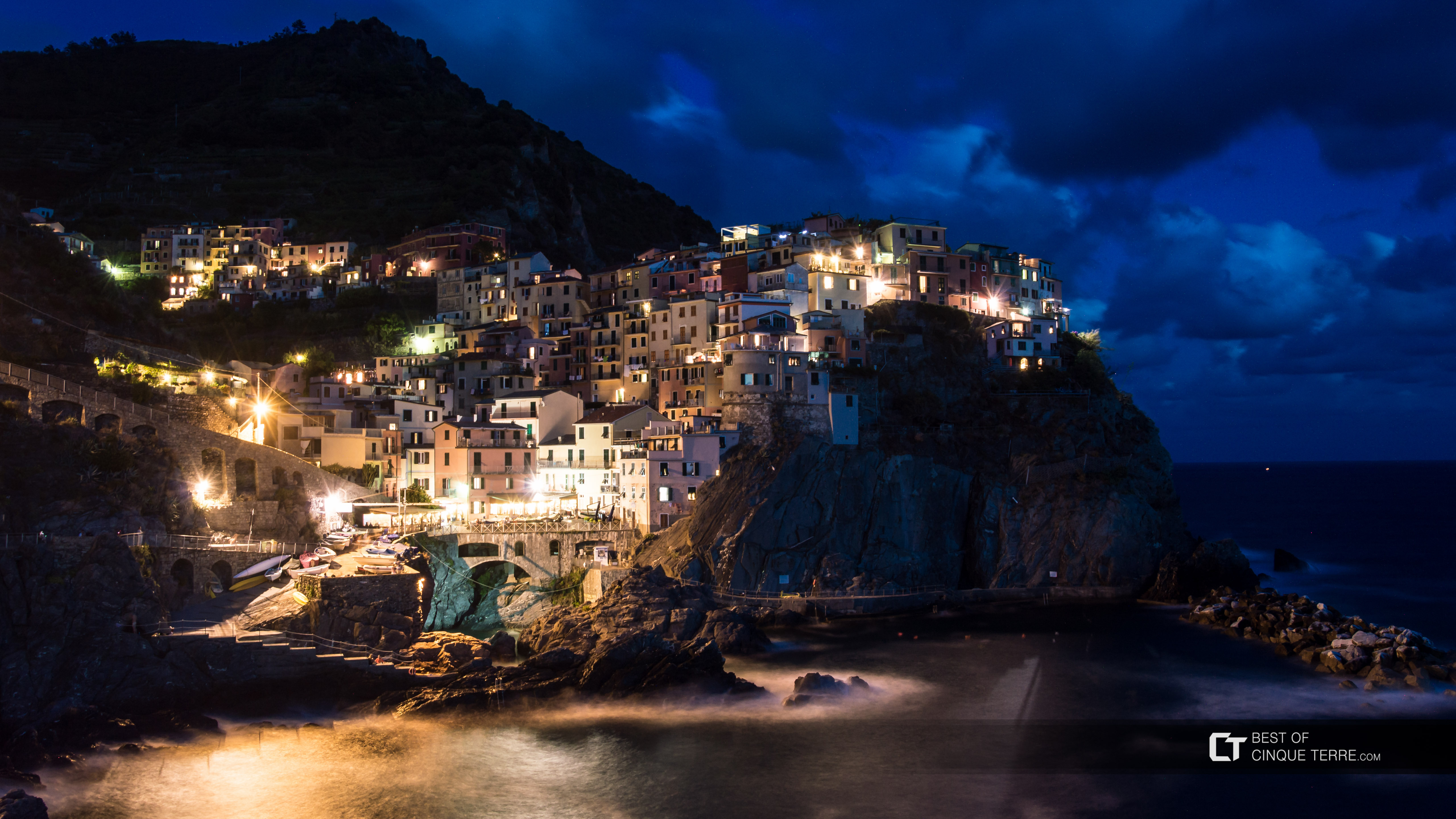Manarola from the promenade at night, Cinque Terre, Italy