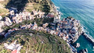 Aerial view of the village, Manarola, Cinque Terre, Italy
