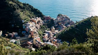 View of the village from the panoramic trail to Volastra, Manarola, Cinque Terre, Italy