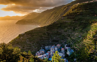 View of the village from the Beccara trail, Manarola, Cinque Terre, Italy