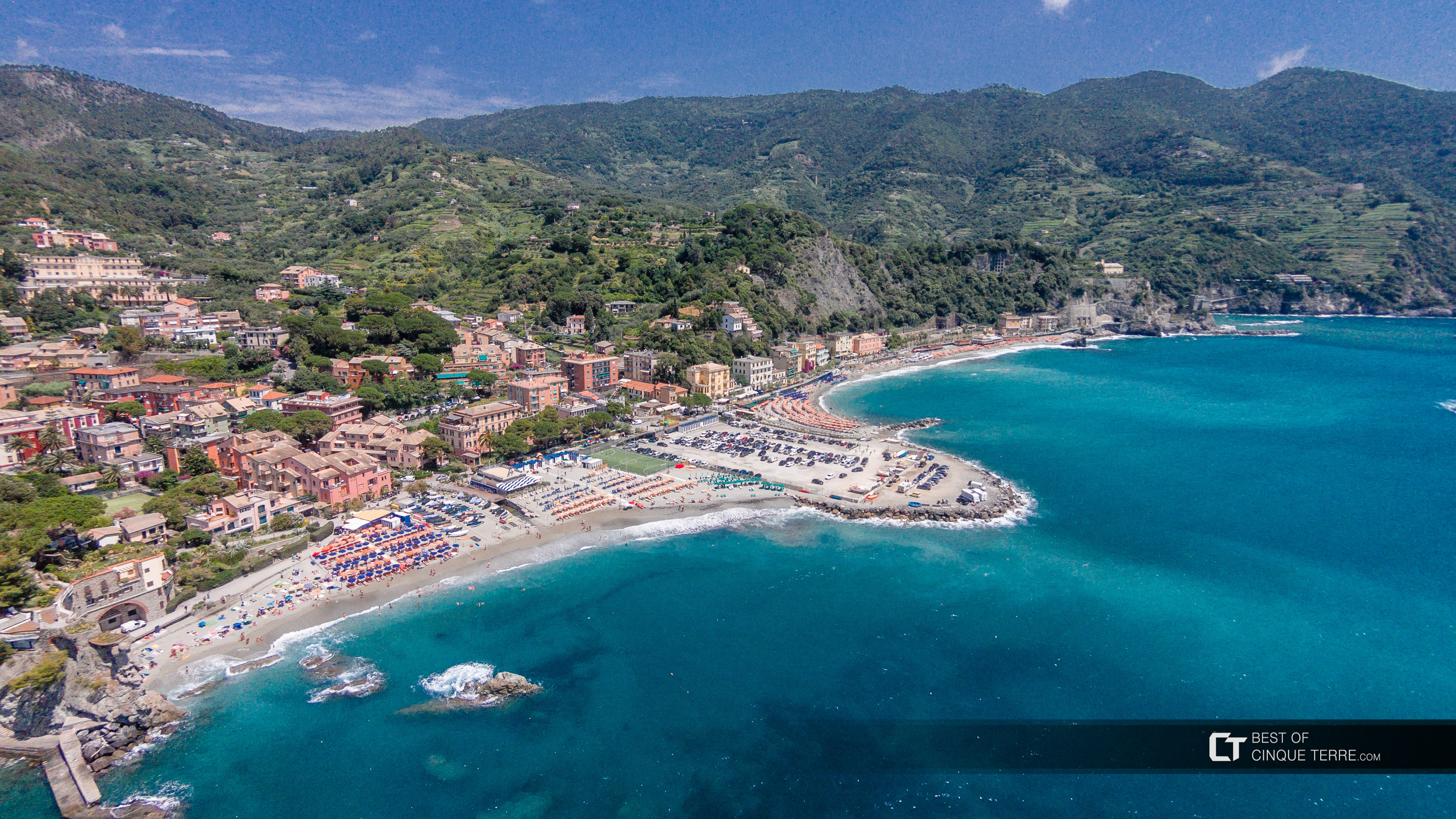 Aerial view of the village, Monterosso al Mare, Cinque Terre, Italy