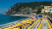 The largest beach in the Cinque Terre: Fegina, Monterosso al Mare, Italy