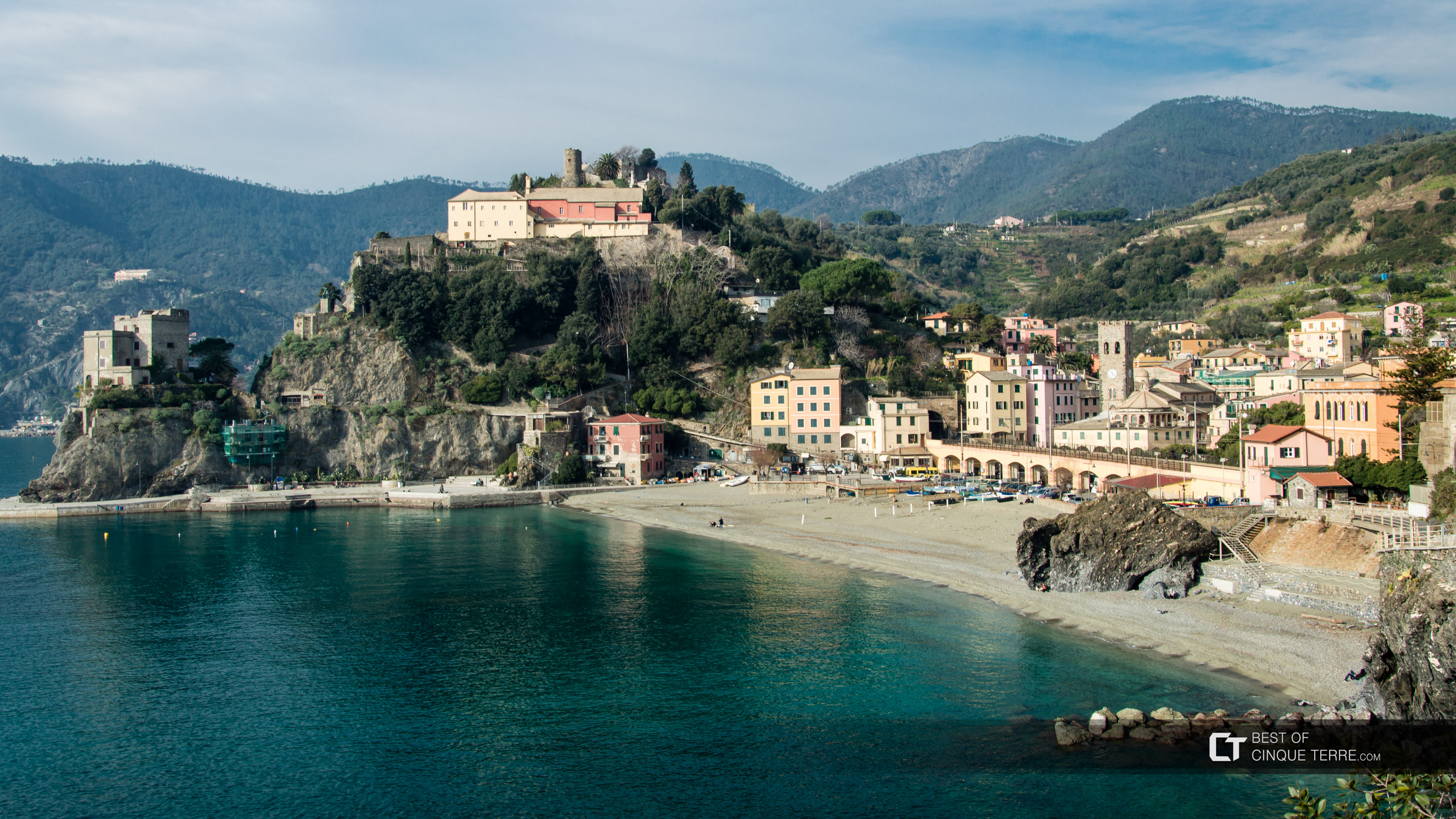 The historical center seen from the Blue Trail, Monterosso al Mare, Cinque Terre, Italy