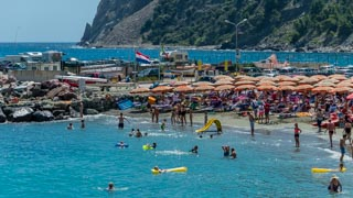 A popular beach for families with kids, Cinque Terre, Italy