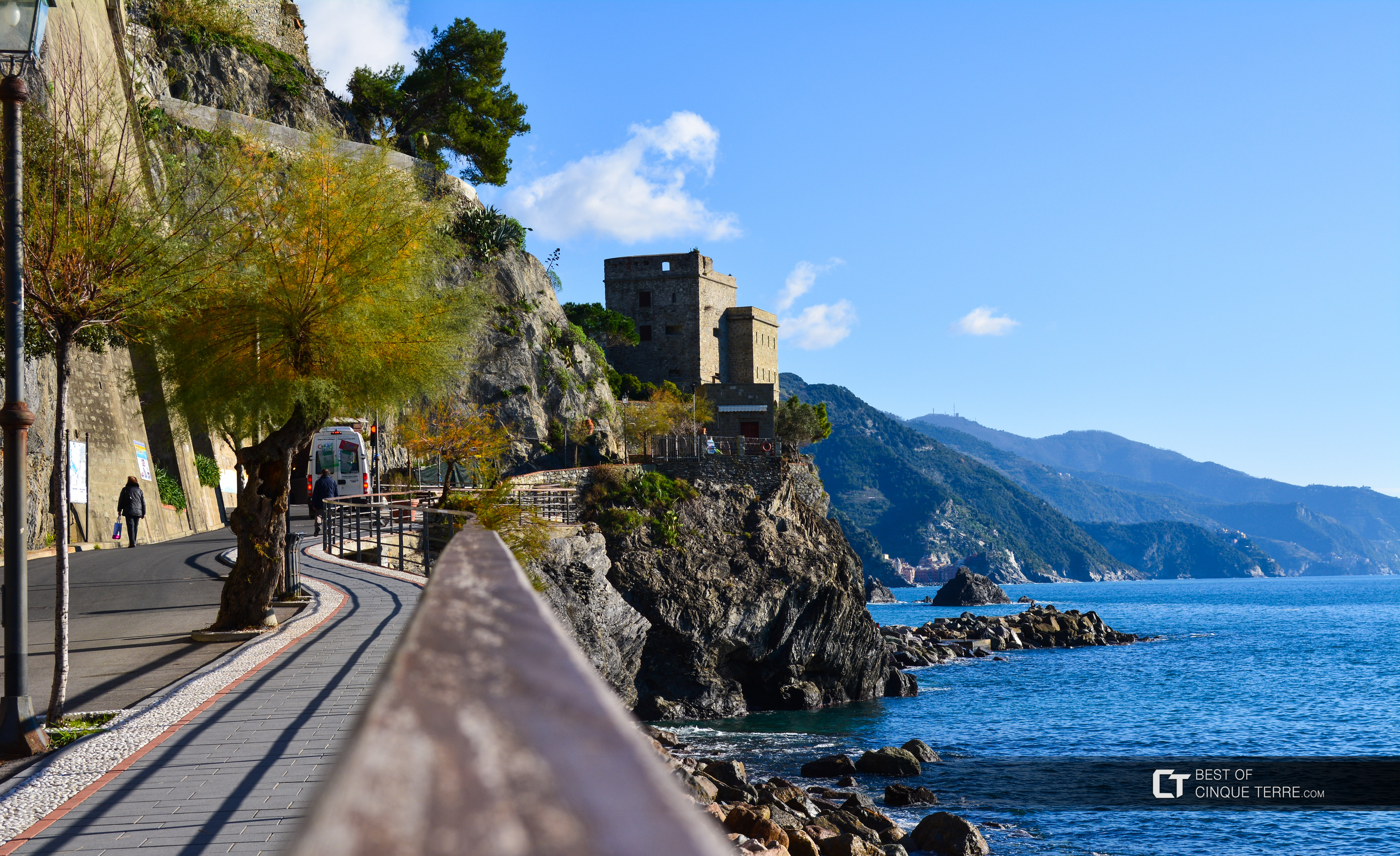 Seaside promenade and the Aurora tower, Monterosso al Mare, Cinque Terre, Italy