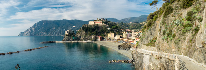 View from the Blue Trail in winter, Monterosso al Mare, Cinque Terre, Italy