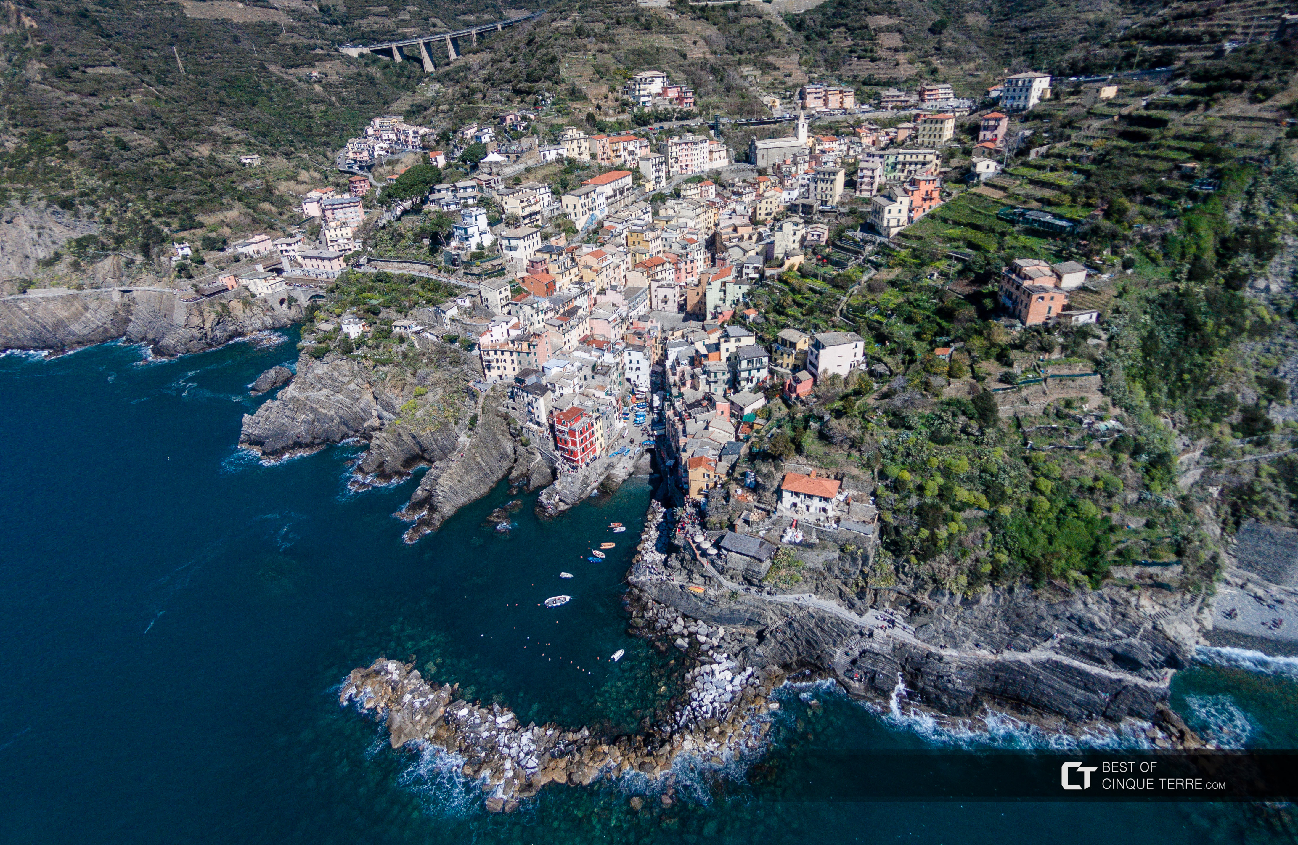 Aerial view of the village, Riomaggiore, Cinque Terre, Italy