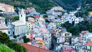 Church of San Giovanni Battista and the village, Riomaggiore, Cinque Terre, Italy