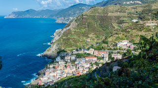 View of the village from the trail to the Montenero Sanctuary, Riomaggiore, Cinque Terre, Italy