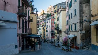 The main street in winter, Riomaggiore, Cinque Terre, Italy