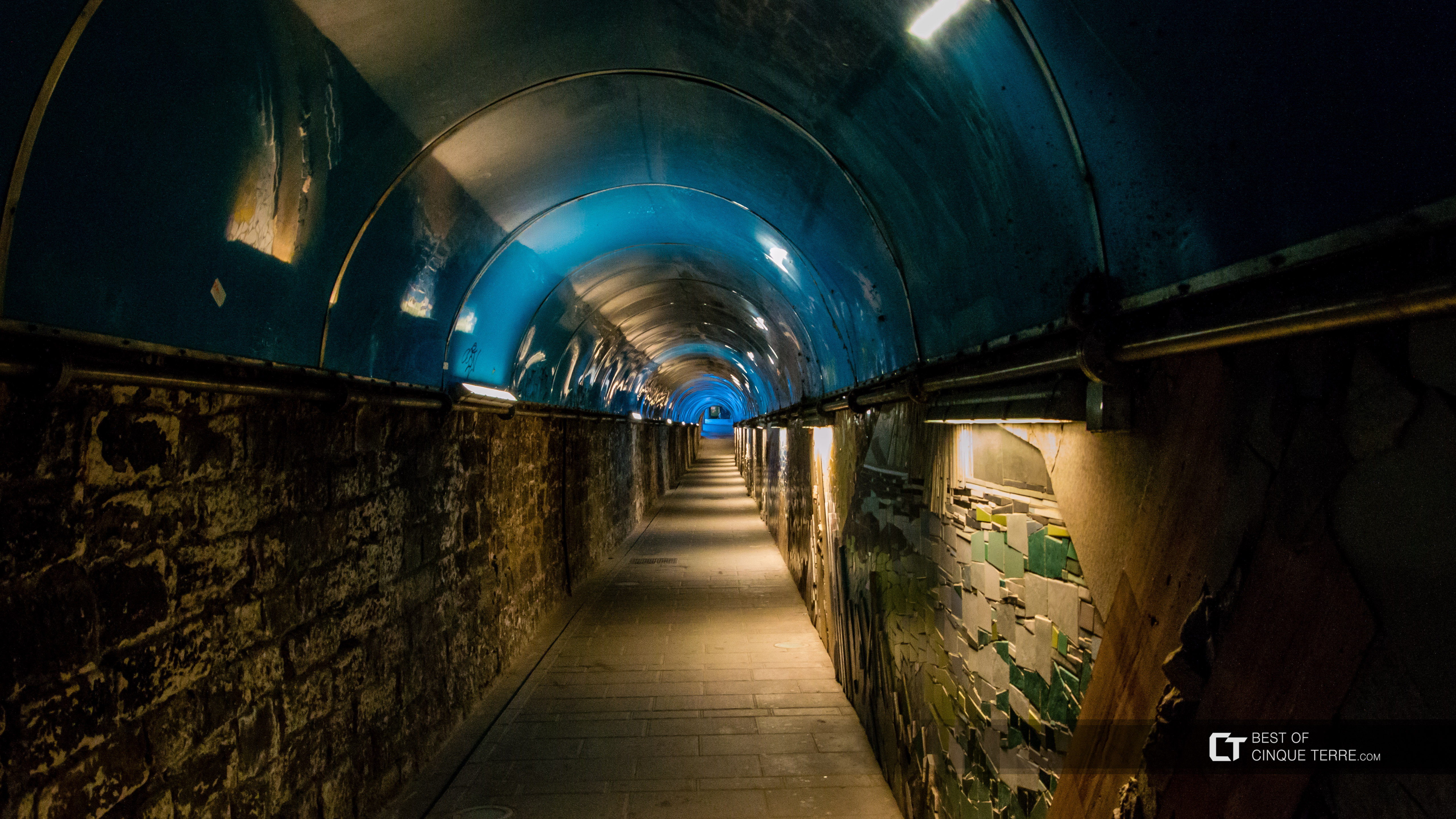The tunnel between the main street and the train station, Riomaggiore, Cinque Terre, Italy