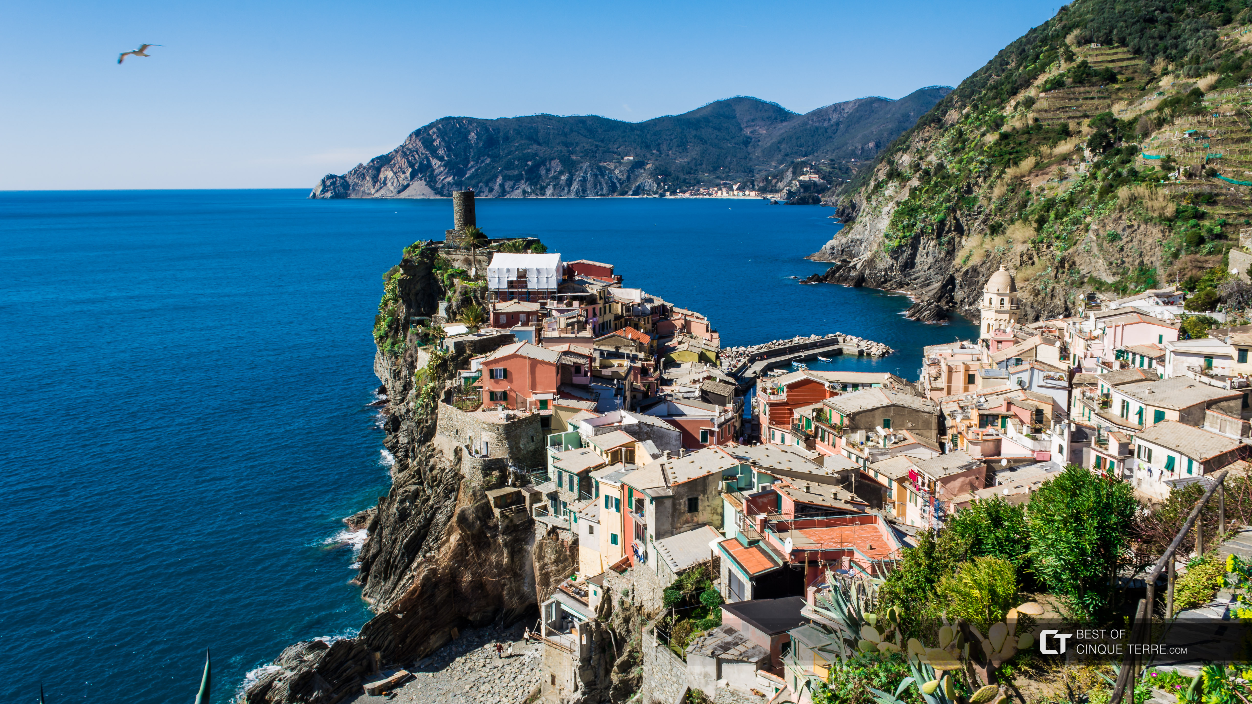 Panoramic view of the village from the Blue Trail, Vernazza, Cinque Terre, Italy