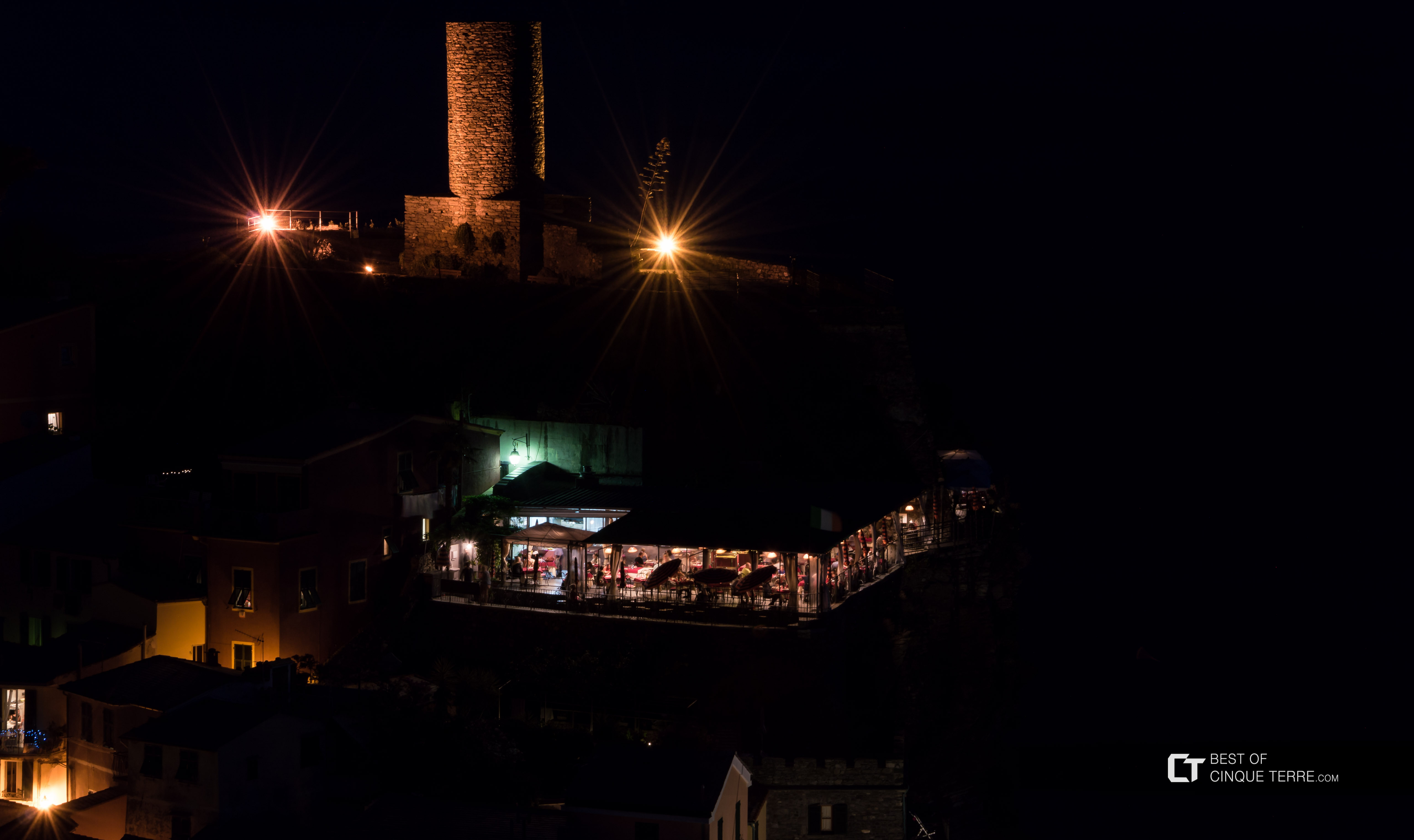 Restaurant Belforte by night, Vernazza, Cinque Terre, Italy