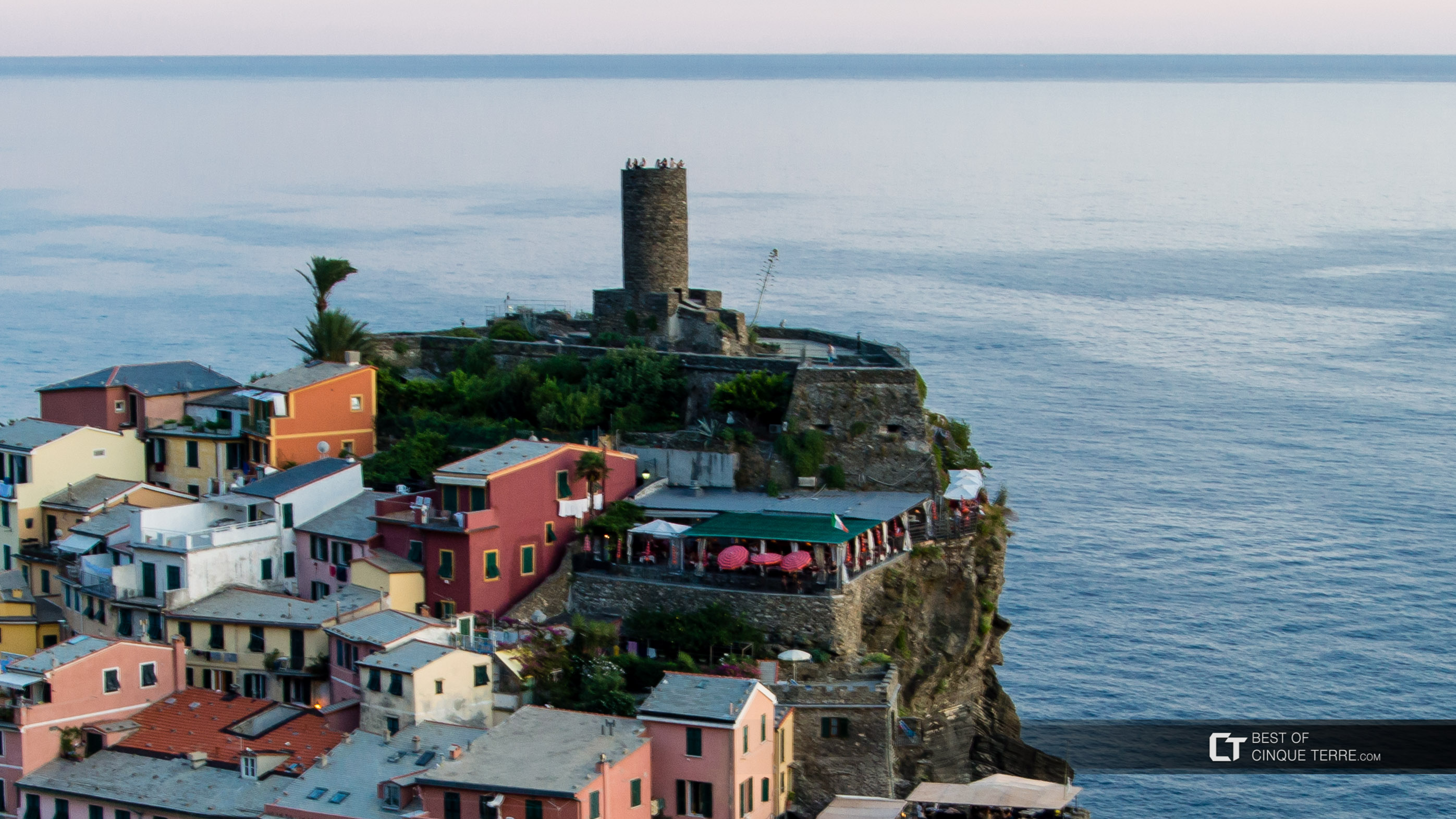 Tourists on Belforte Tower, Vernazza, Cinque Terre, Italy
