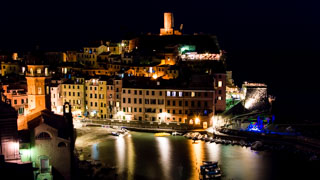 View of the bay by night, Vernazza, Cinque Terre, Italy