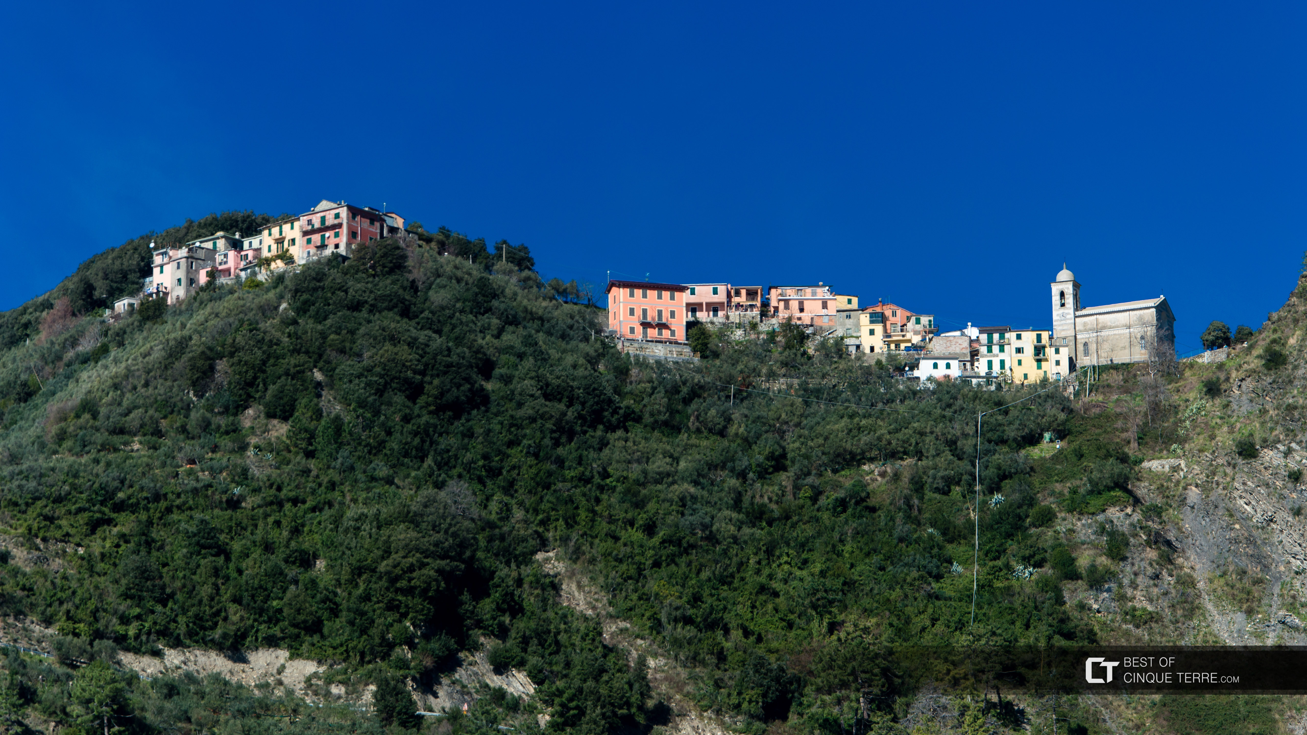 View of San Bernardino from the Blue Trail, Vernazza, Cinque Terre, Italy