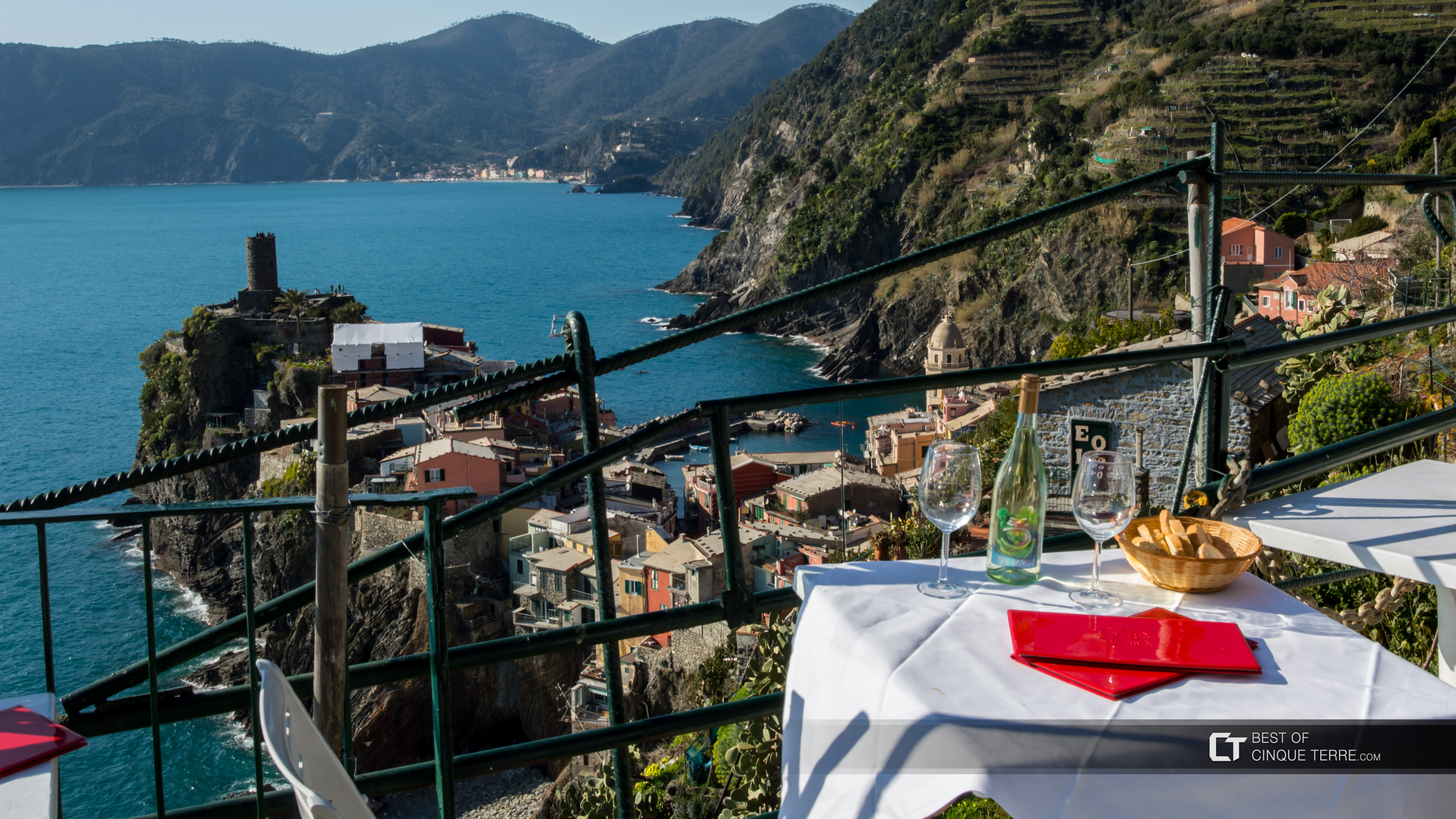 View of the village from the La Torre cafe, Vernazza, Cinque Terre, Italy