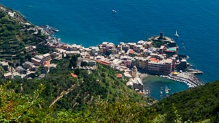 View of the village from the Shrine of Our Lady of Reggio, Vernazza, Cinque Terre, Italy