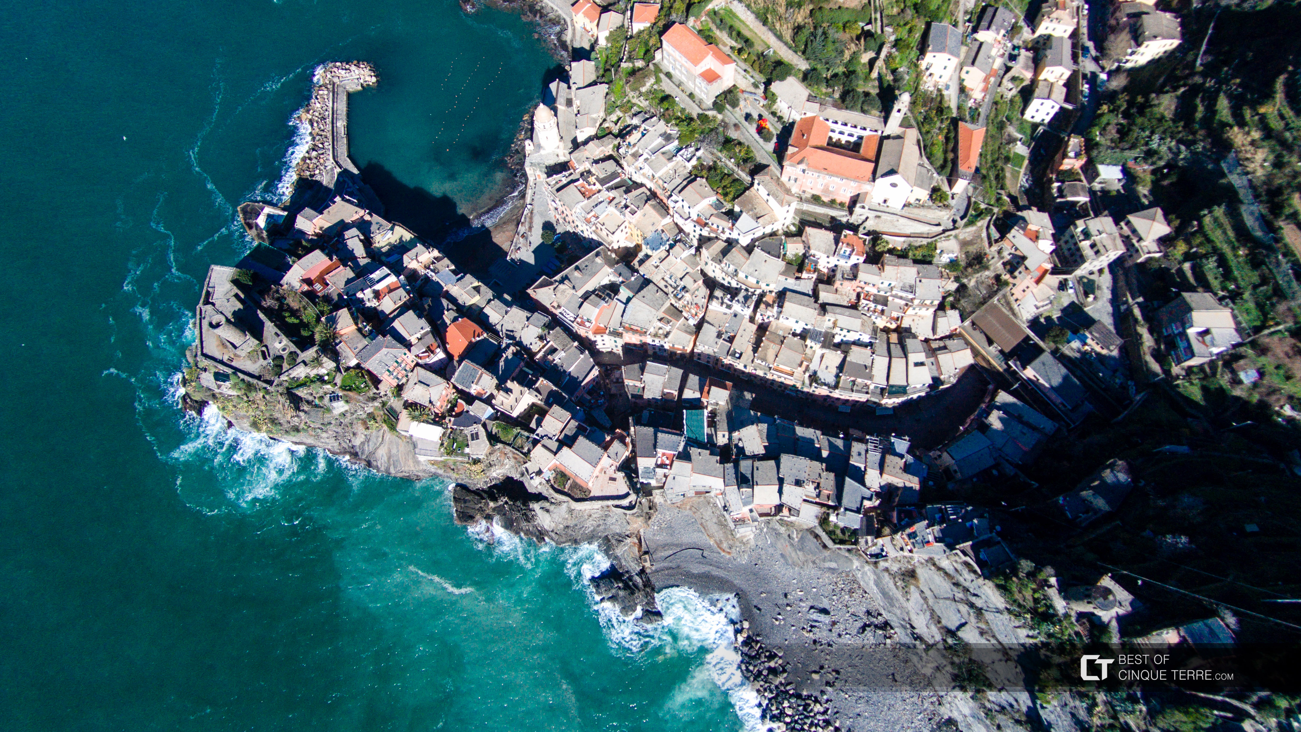 Aerial view of the village, Vernazza, Cinque Terre, Italy