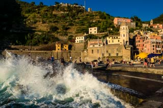 Waves breaking on the jetty, Vernazza, Cinque Terre, Italy