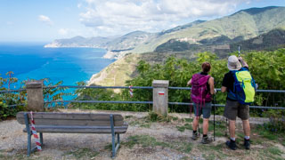View of the Riviera from the area near Montenero Sanctuary, elderly couple, Cinque Terre, Italy