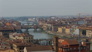 The Ponte Vecchio seen from Piazzale Michelangelo, Florence, Italy