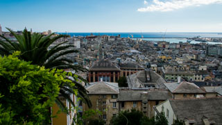 The view from the Belvedere of Castelletto, Genoa, Italy