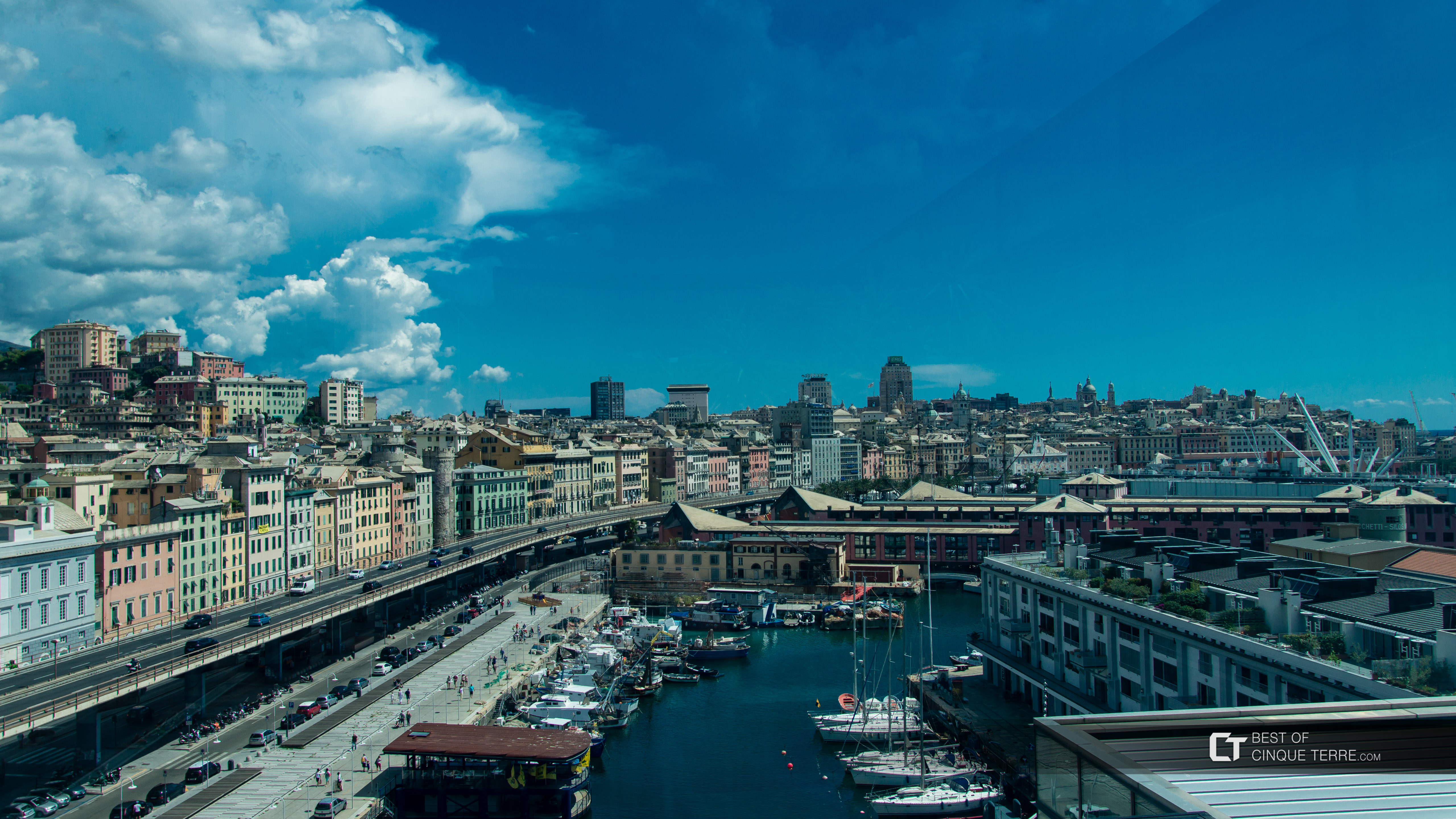 The view from the roof of the Museum of the Sea on the waterfront, Genoa, Italy