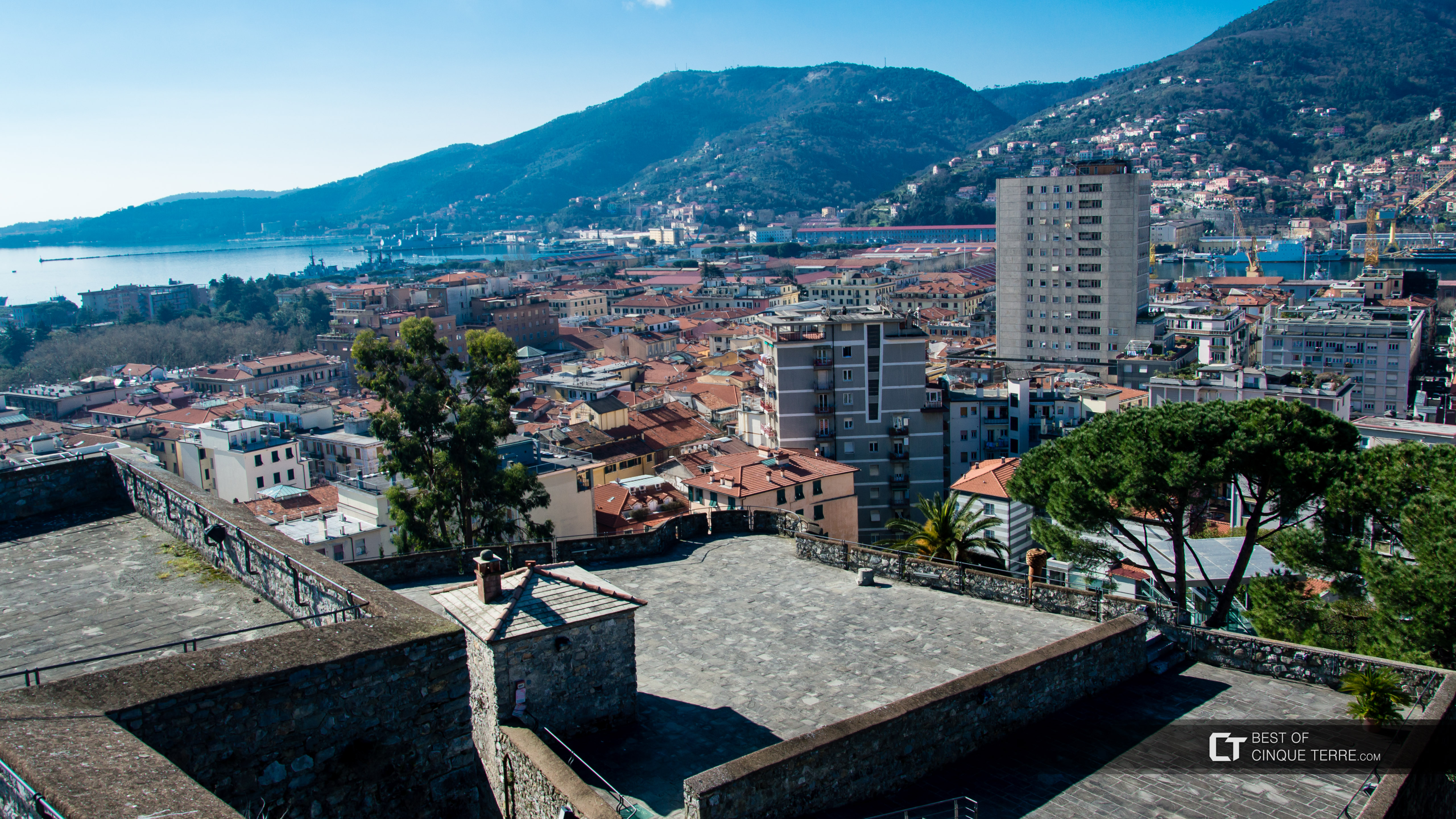 View of the city from the terrace of St. George's Castle, La Spezia, Italy