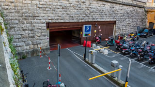 Parking under the train station, La Spezia, Italy