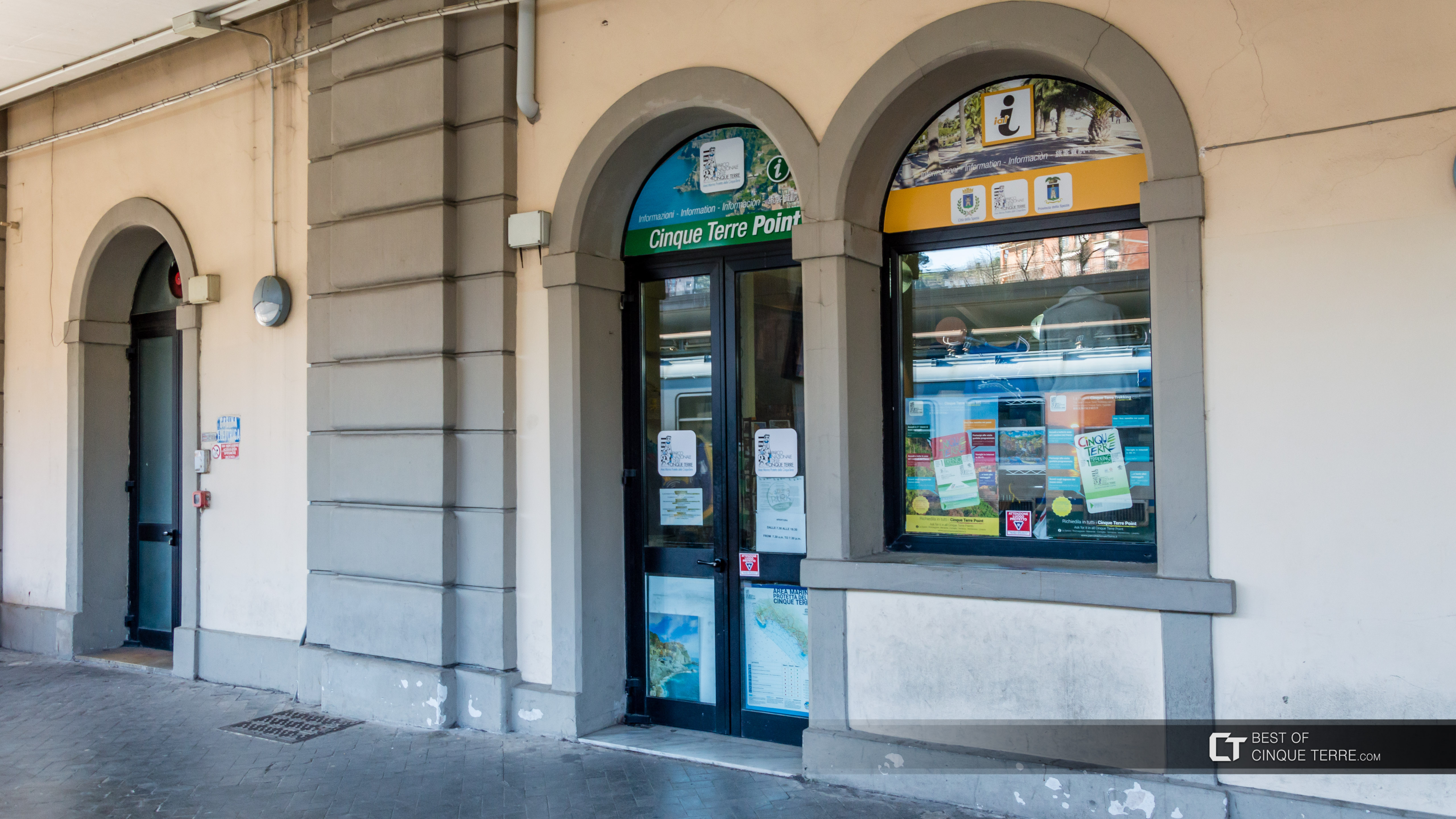 The tourist office at the station, La Spezia, Italy