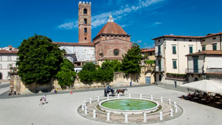 Piazza Antelminelli and the Bell Tower of the Church of Saint Giovanni, Lucca, Italy