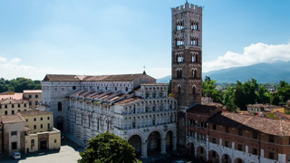 View from the Church bell tower to the Cathedral of Lucca, Italy