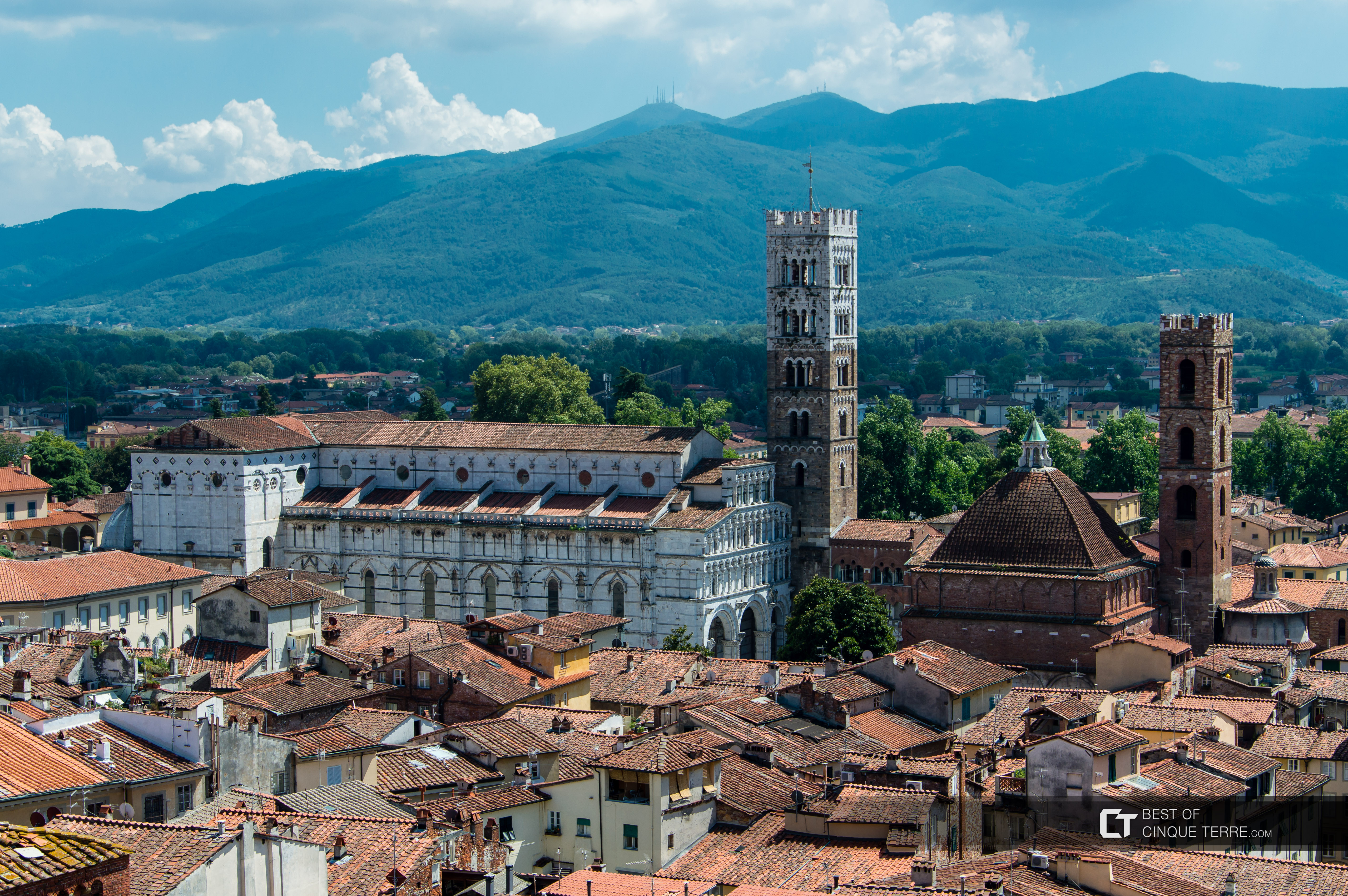 View of the Cathedral from the Clock Tower, Lucca, Italy