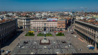 Piazza Duomo from the roof of the cathedral, Milan, Italy