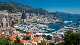 View of Monte Carlo harbor from the Prince's Palace square, Monaco