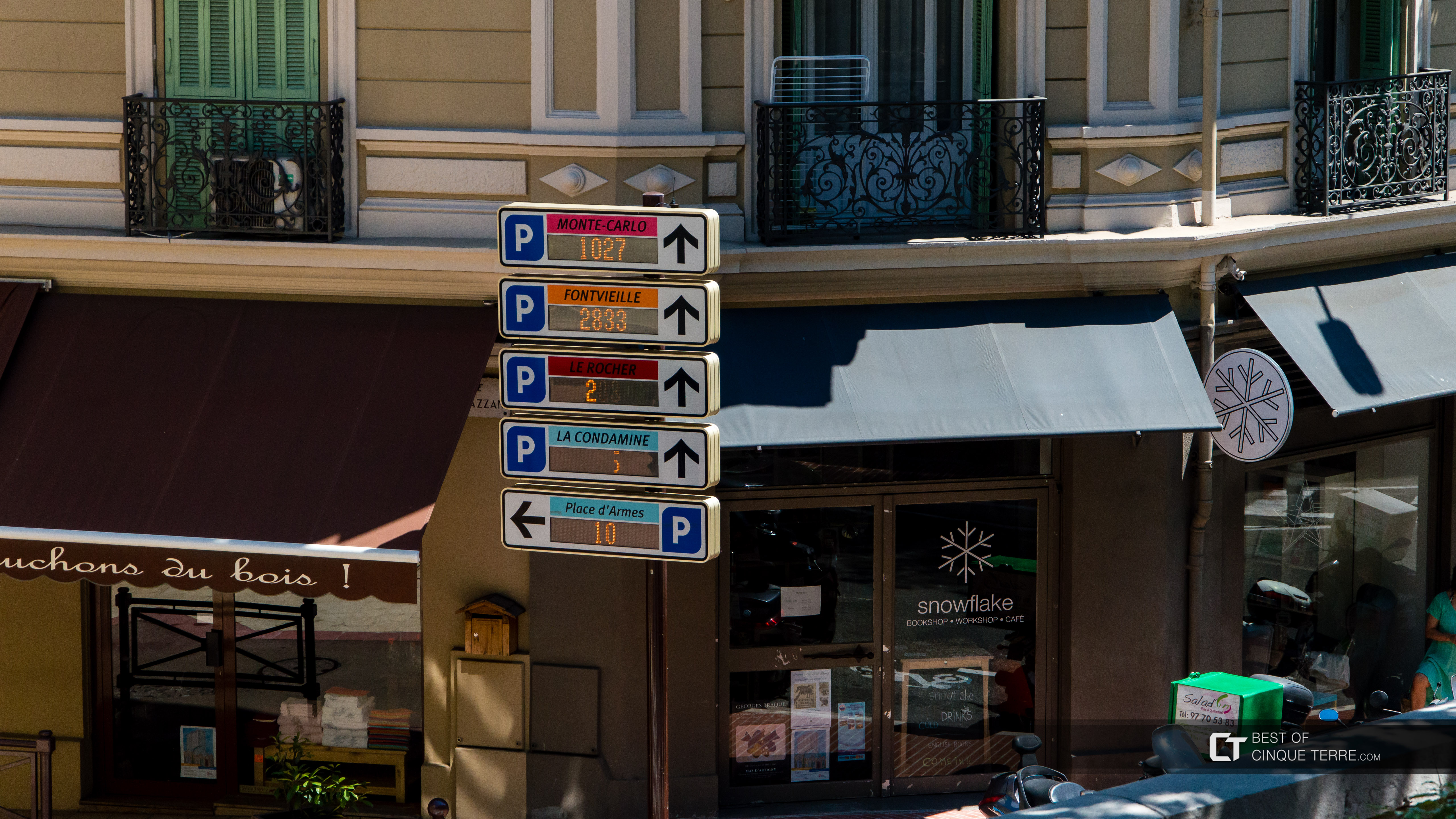 Parking sign with the number of available places, Monaco