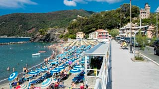 Seaside promenade and the beach, Moneglia, Italy