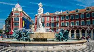 Fountain of the Sun on Piazza Massena, Nice, France